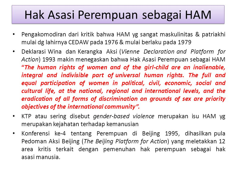 Hak Asasi Perempuan sebagai HAM