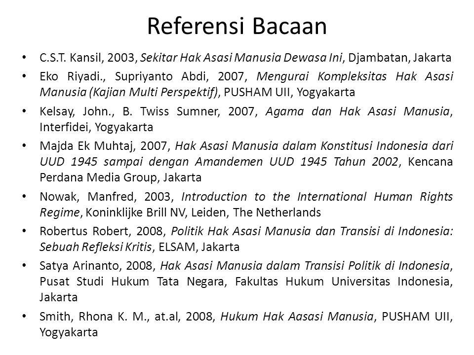 Referensi Bacaan C.S.T. Kansil, 2003, Sekitar Hak Asasi Manusia Dewasa Ini, Djambatan, Jakarta.