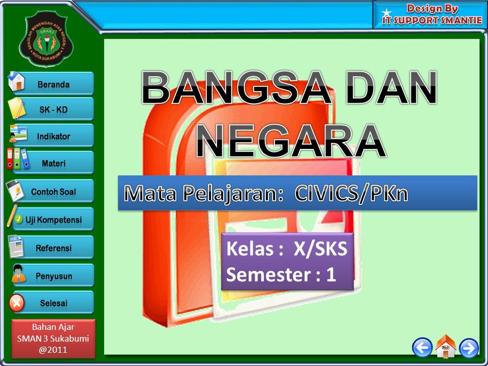 BANGSA DAN NEGARA Mata Pelajaran: CIVICS/PKn Kelas : X/SKS