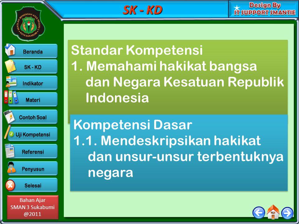 SK - KD Standar Kompetensi. 1. Memahami hakikat bangsa dan Negara Kesatuan Republik Indonesia. Kompetensi Dasar.