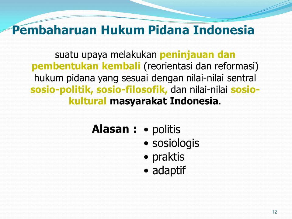 Pembaharuan Hukum Pidana Indonesia