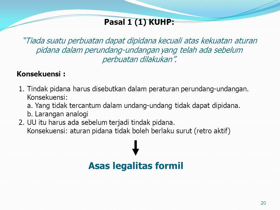 Asas legalitas formil Pasal 1 (1) KUHP: