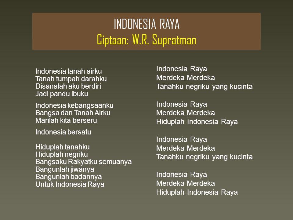 INDONESIA RAYA Ciptaan: W.R. Supratman
