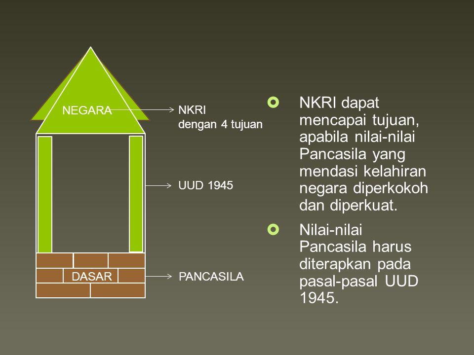 Nilai-nilai Pancasila harus diterapkan pada pasal-pasal UUD 1945.