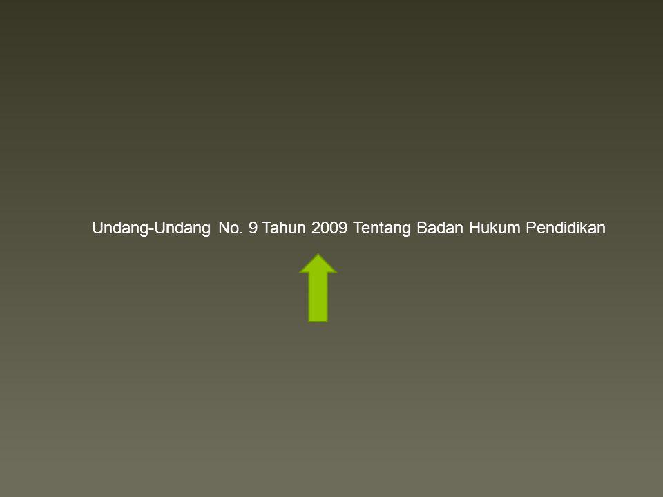 Undang-Undang No. 9 Tahun 2009 Tentang Badan Hukum Pendidikan