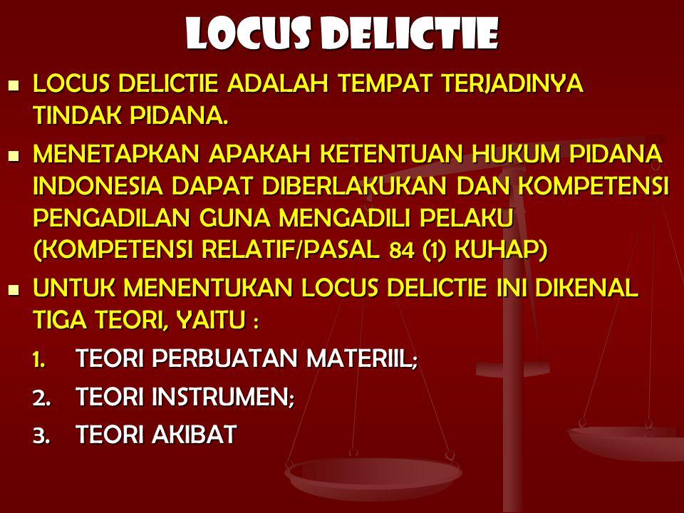 LOCUS DELICTIE LOCUS DELICTIE ADALAH TEMPAT TERJADINYA TINDAK PIDANA.