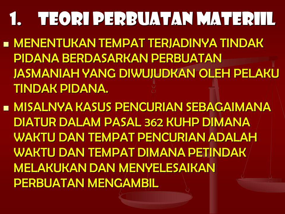 1. TEORI PERBUATAN MATERIIL