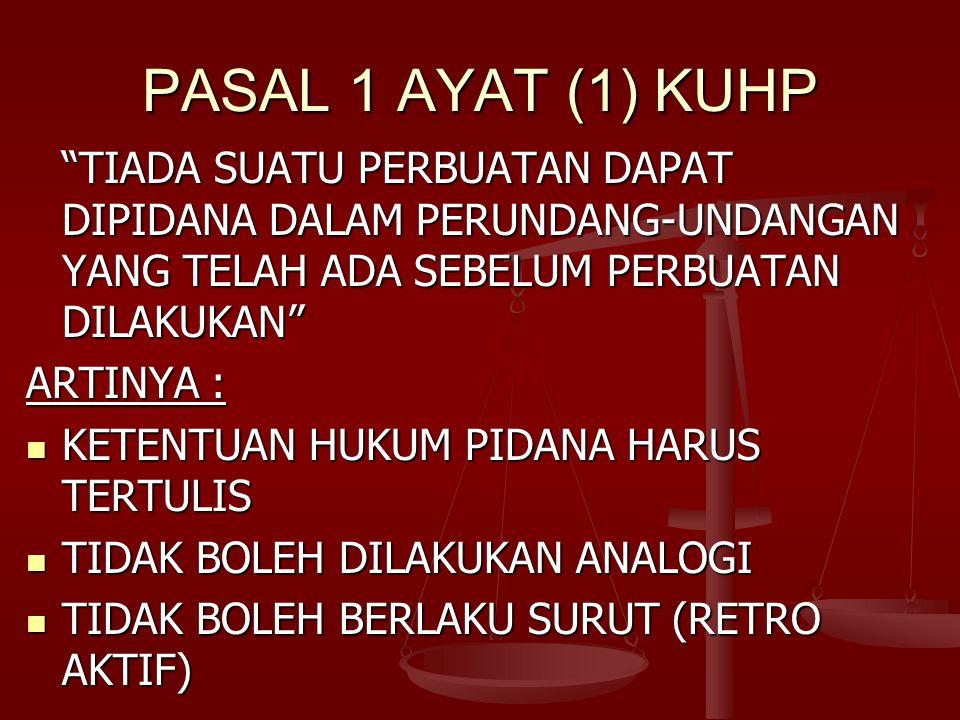 PASAL 1 AYAT (1) KUHP TIADA SUATU PERBUATAN DAPAT DIPIDANA DALAM PERUNDANG-UNDANGAN YANG TELAH ADA SEBELUM PERBUATAN DILAKUKAN