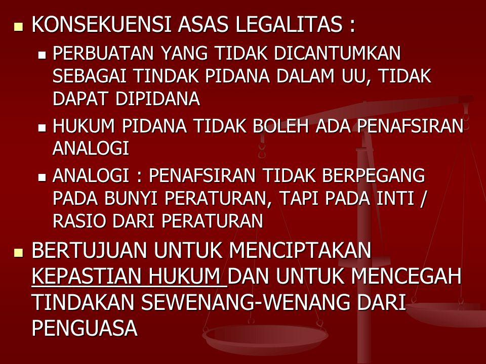 KONSEKUENSI ASAS LEGALITAS :
