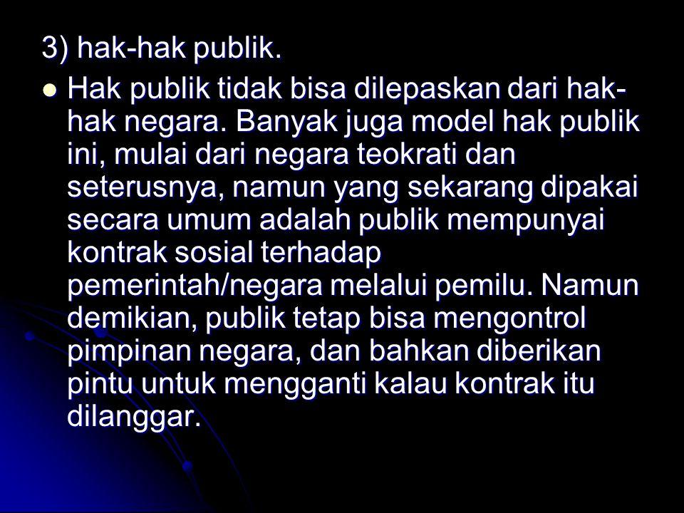 3) hak-hak publik.