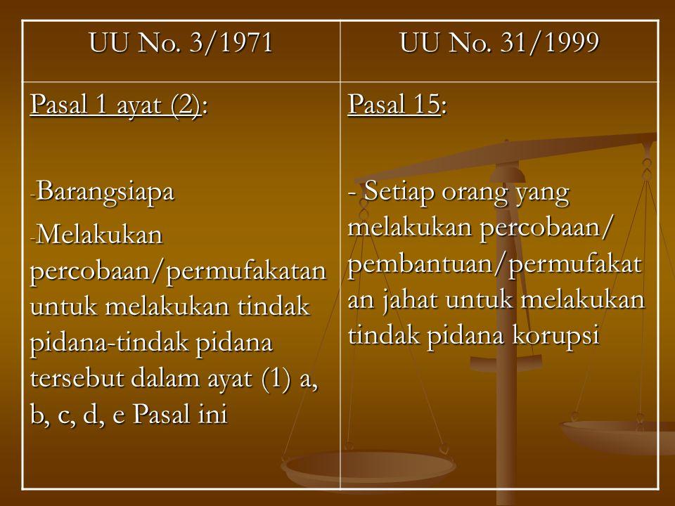 UU No. 3/1971 UU No. 31/1999. Pasal 1 ayat (2): Barangsiapa.
