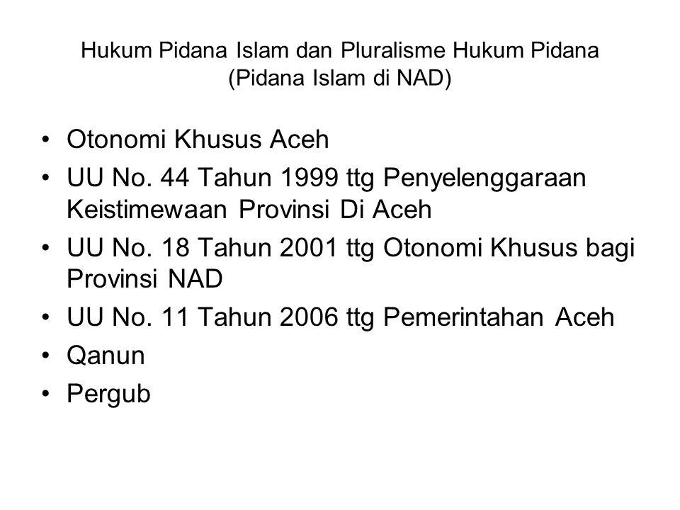 Hukum Pidana Islam dan Pluralisme Hukum Pidana (Pidana Islam di NAD)