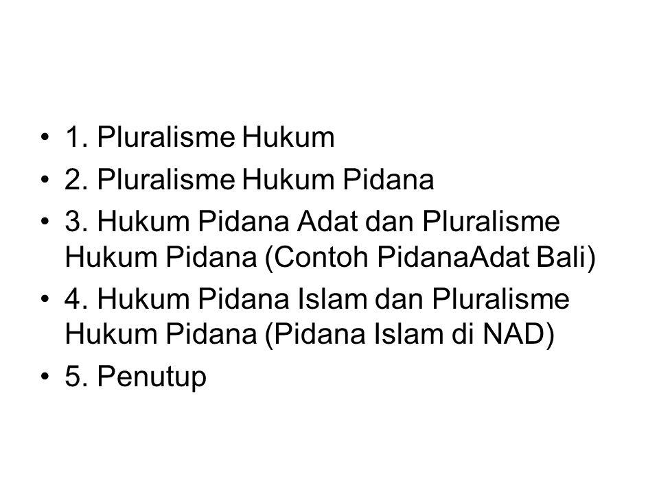 1. Pluralisme Hukum 2. Pluralisme Hukum Pidana. 3. Hukum Pidana Adat dan Pluralisme Hukum Pidana (Contoh PidanaAdat Bali)