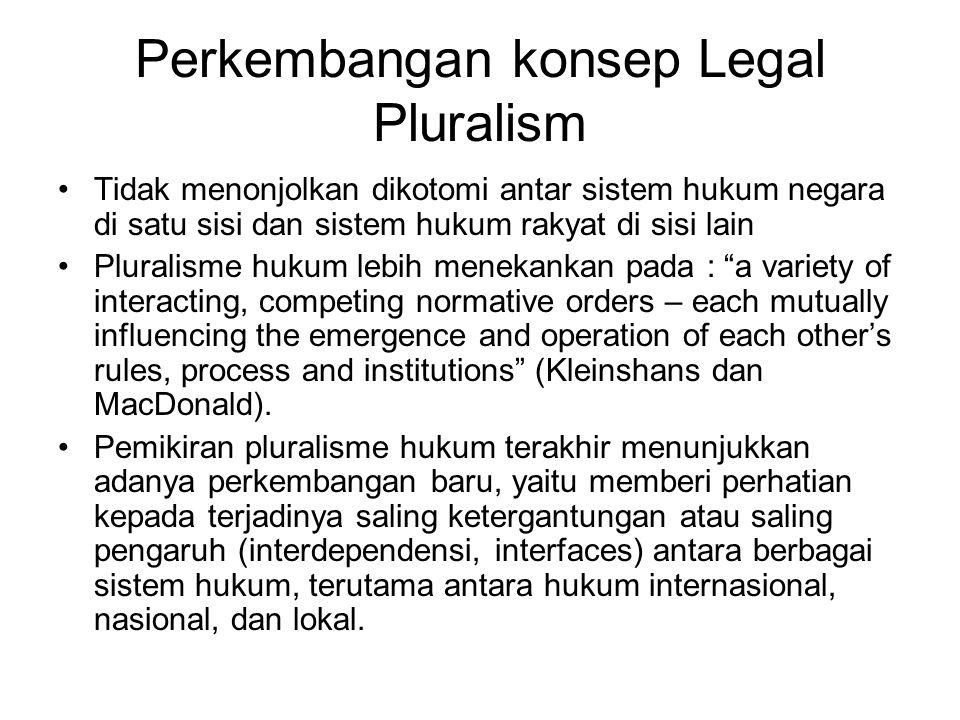 Perkembangan konsep Legal Pluralism