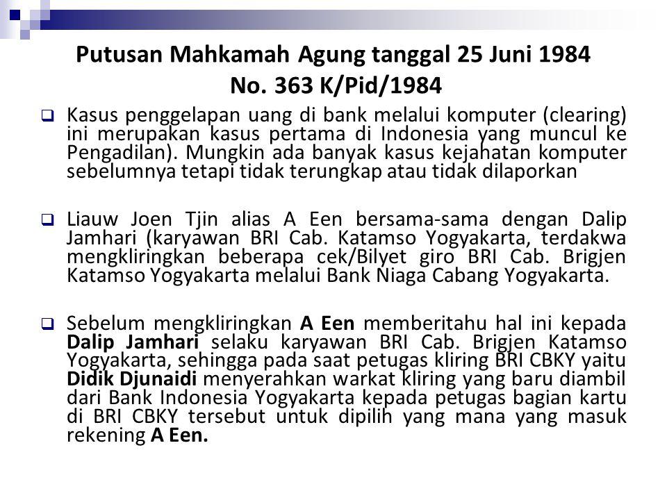 Putusan Mahkamah Agung tanggal 25 Juni 1984 No. 363 K/Pid/1984