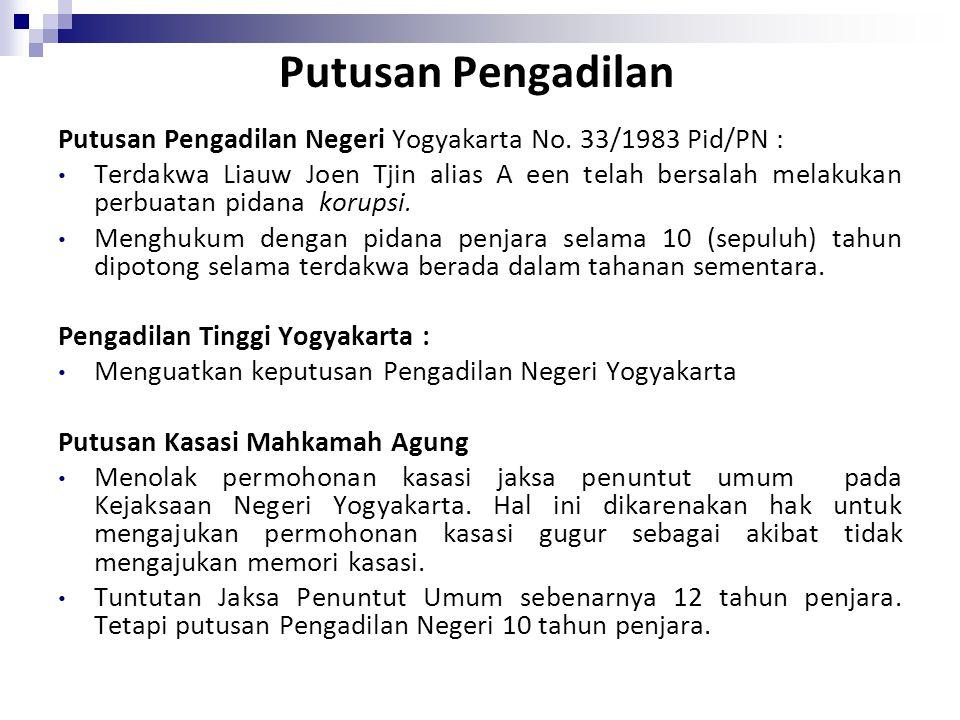 Putusan Pengadilan Putusan Pengadilan Negeri Yogyakarta No. 33/1983 Pid/PN :