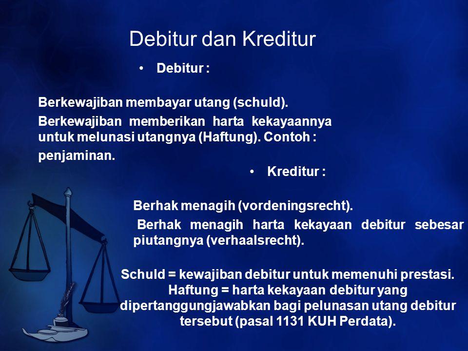 Debitur dan Kreditur Debitur : Berkewajiban membayar utang (schuld).