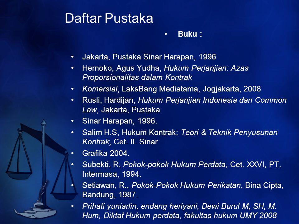 Daftar Pustaka Buku : Jakarta, Pustaka Sinar Harapan, 1996