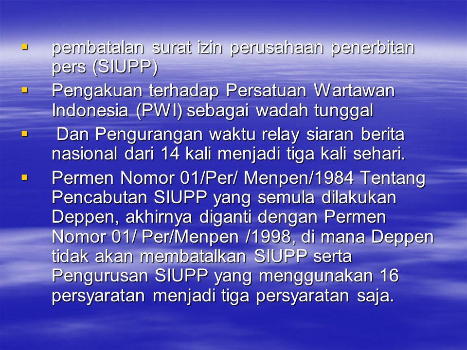 pembatalan surat izin perusahaan penerbitan pers (SIUPP)