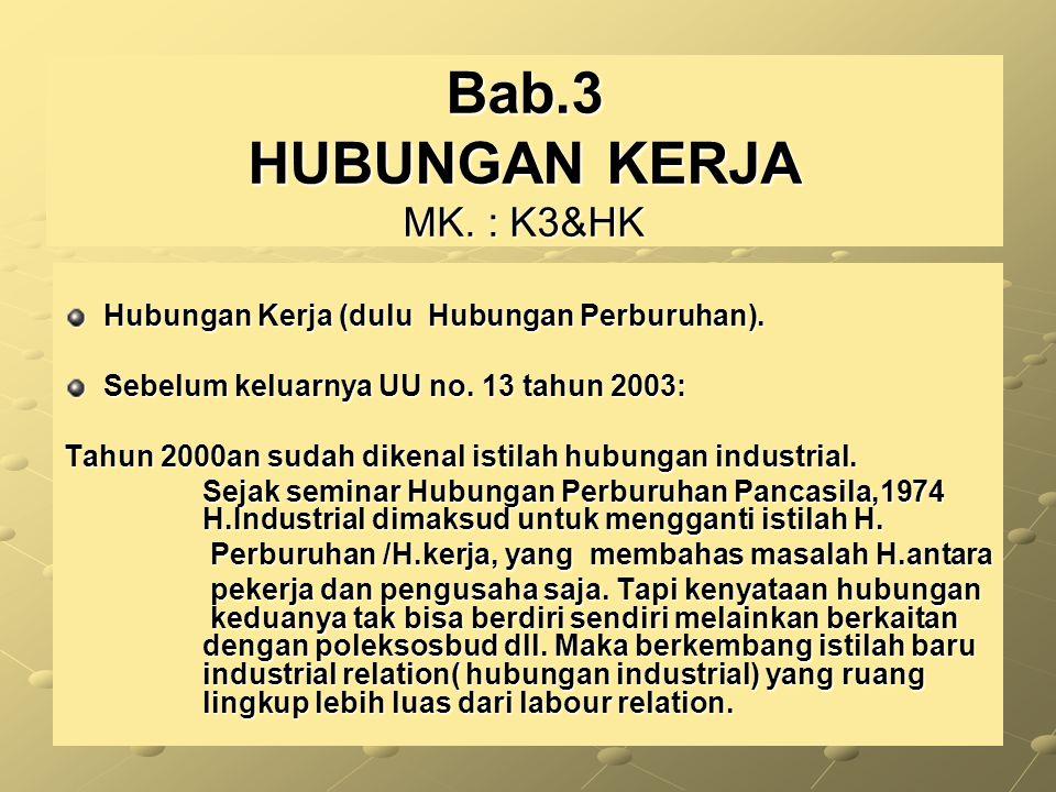Bab.3 HUBUNGAN KERJA MK. : K3&HK