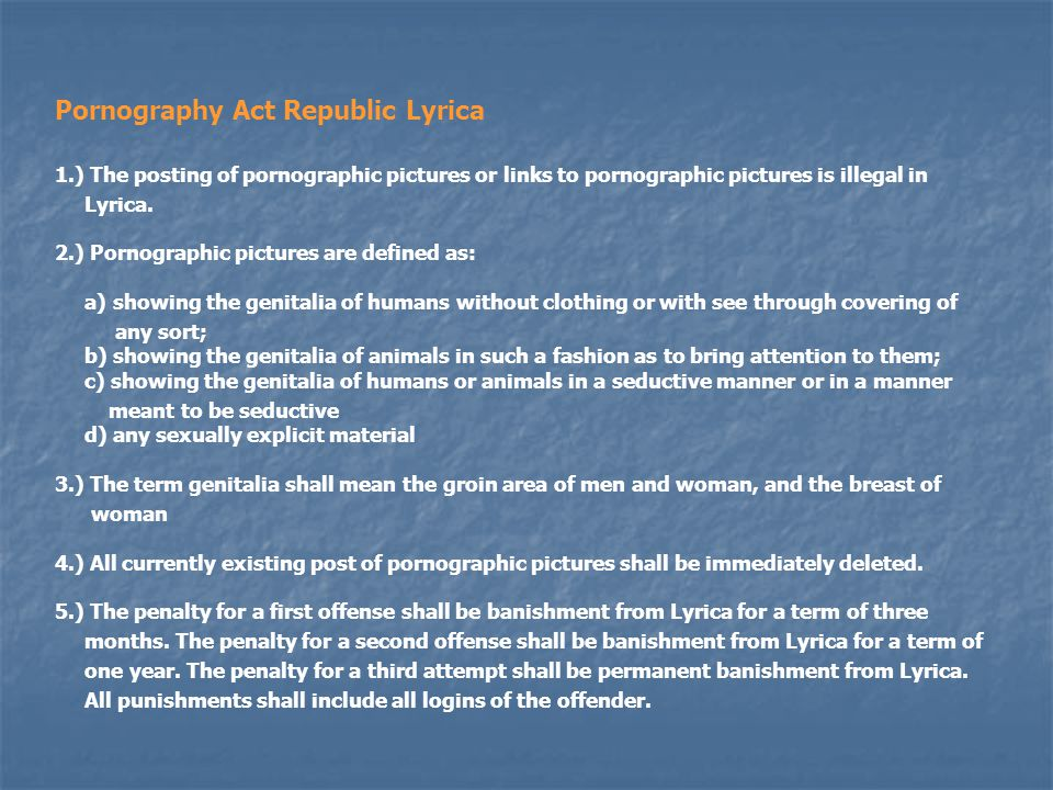 Pornography Act Republic Lyrica