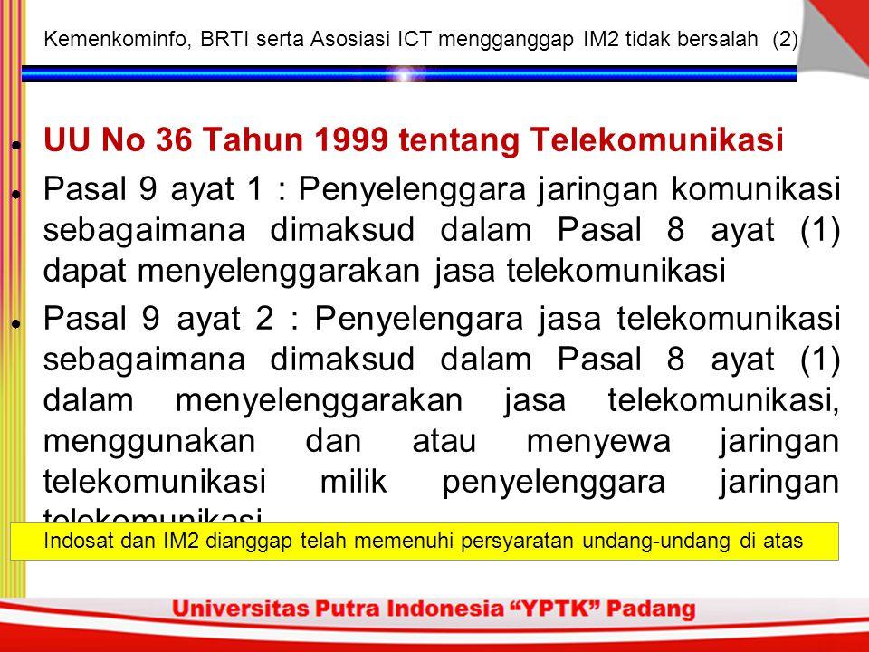 UU No 36 Tahun 1999 tentang Telekomunikasi