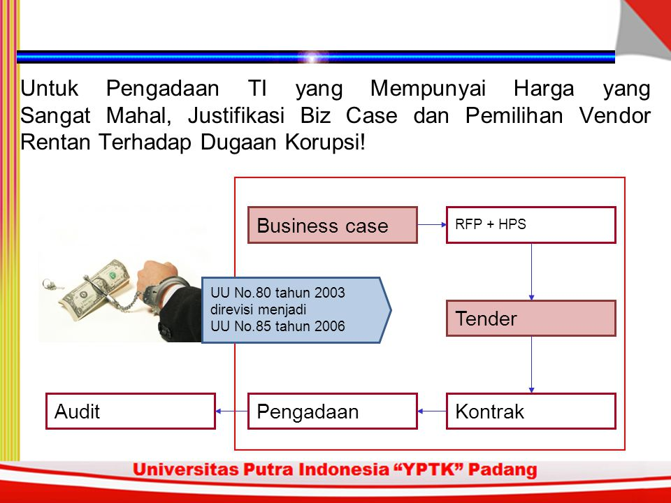 Untuk Pengadaan TI yang Mempunyai Harga yang Sangat Mahal, Justifikasi Biz Case dan Pemilihan Vendor Rentan Terhadap Dugaan Korupsi!