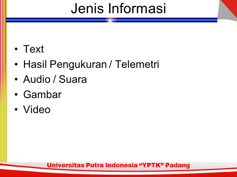 Jenis Informasi Text Hasil Pengukuran / Telemetri Audio / Suara Gambar