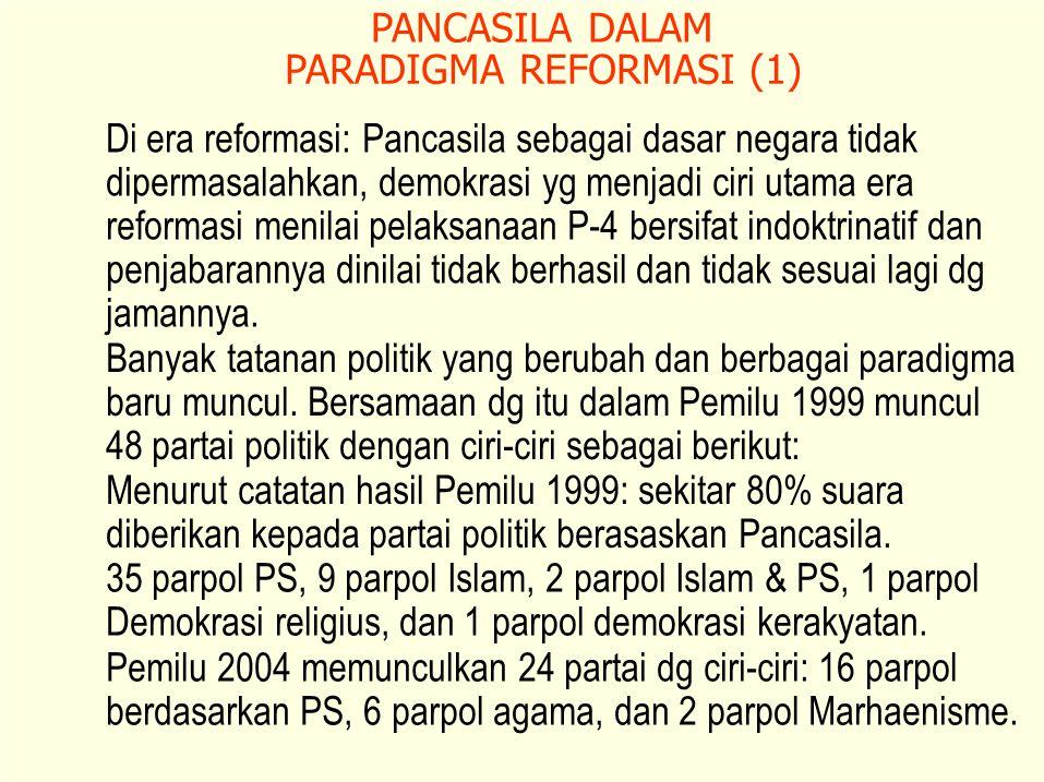 PANCASILA DALAM PARADIGMA REFORMASI (1) Di era reformasi: Pancasila sebagai dasar negara tidak.