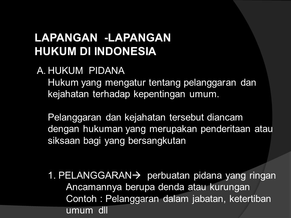 LAPANGAN -LAPANGAN HUKUM DI INDONESIA