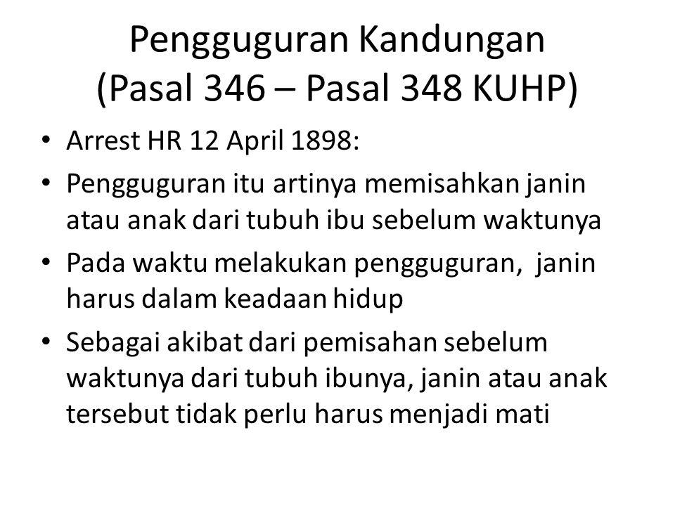Pengguguran Kandungan (Pasal 346 – Pasal 348 KUHP)