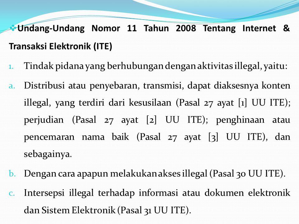 Undang-Undang Nomor 11 Tahun 2008 Tentang Internet & Transaksi Elektronik (ITE)