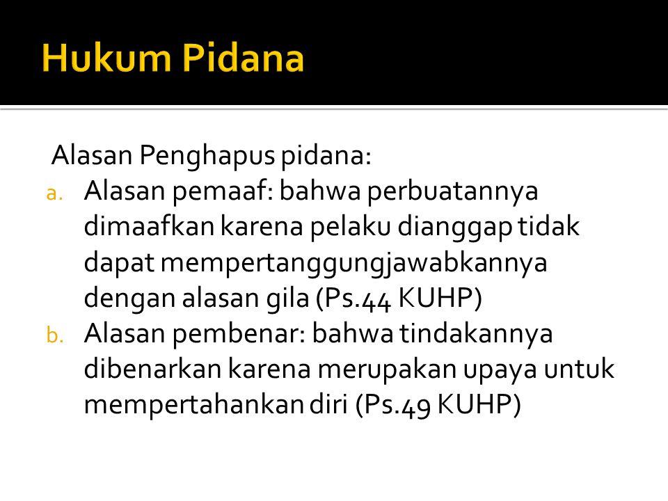 Hukum Pidana Alasan Penghapus pidana: