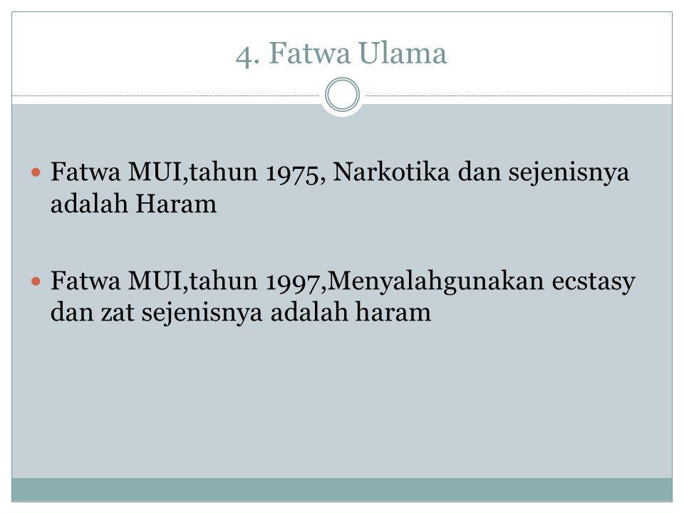 4. Fatwa Ulama Fatwa MUI,tahun 1975, Narkotika dan sejenisnya adalah Haram.