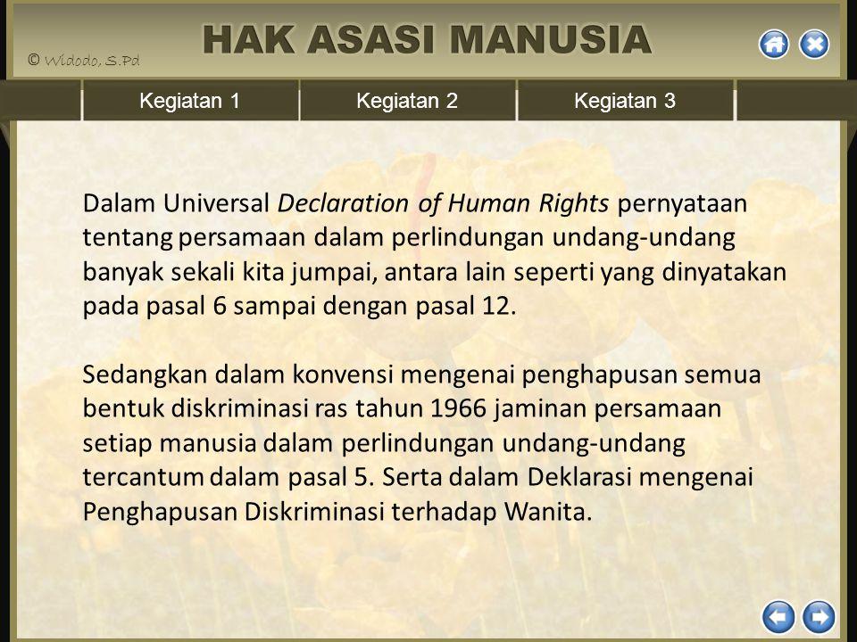 Dalam Universal Declaration of Human Rights pernyataan tentang persamaan dalam perlindungan undang-undang banyak sekali kita jumpai, antara lain seperti yang dinyatakan pada pasal 6 sampai dengan pasal 12.