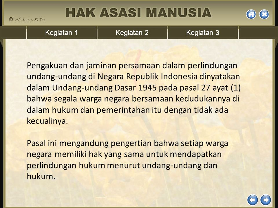 Pengakuan dan jaminan persamaan dalam perlindungan undang-undang di Negara Republik Indonesia dinyatakan dalam Undang-undang Dasar 1945 pada pasal 27 ayat (1) bahwa segala warga negara bersamaan kedudukannya di dalam hukum dan pemerintahan itu dengan tidak ada kecualinya.