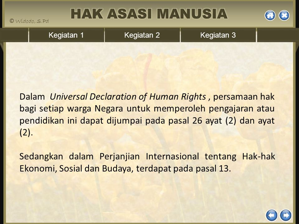 Dalam Universal Declaration of Human Rights , persamaan hak bagi setiap warga Negara untuk memperoleh pengajaran atau pendidikan ini dapat dijumpai pada pasal 26 ayat (2) dan ayat (2).