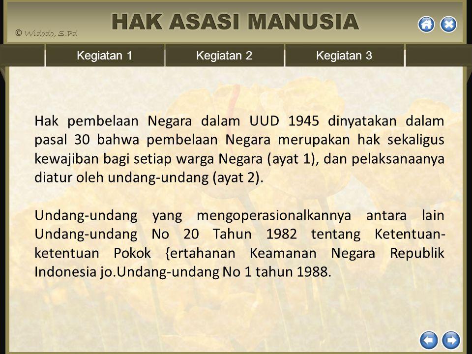 Hak pembelaan Negara dalam UUD 1945 dinyatakan dalam pasal 30 bahwa pembelaan Negara merupakan hak sekaligus kewajiban bagi setiap warga Negara (ayat 1), dan pelaksanaanya diatur oleh undang-undang (ayat 2).