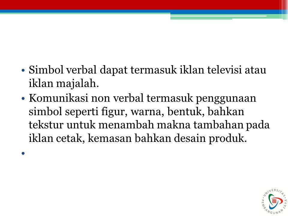 Simbol verbal dapat termasuk iklan televisi atau iklan majalah.
