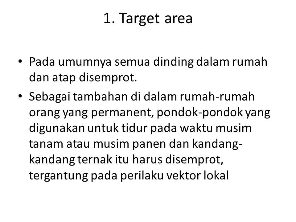 1. Target area Pada umumnya semua dinding dalam rumah dan atap disemprot.