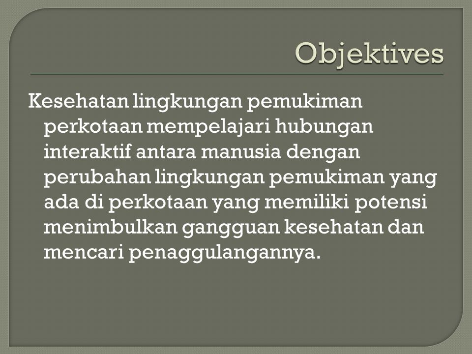 Objektives
