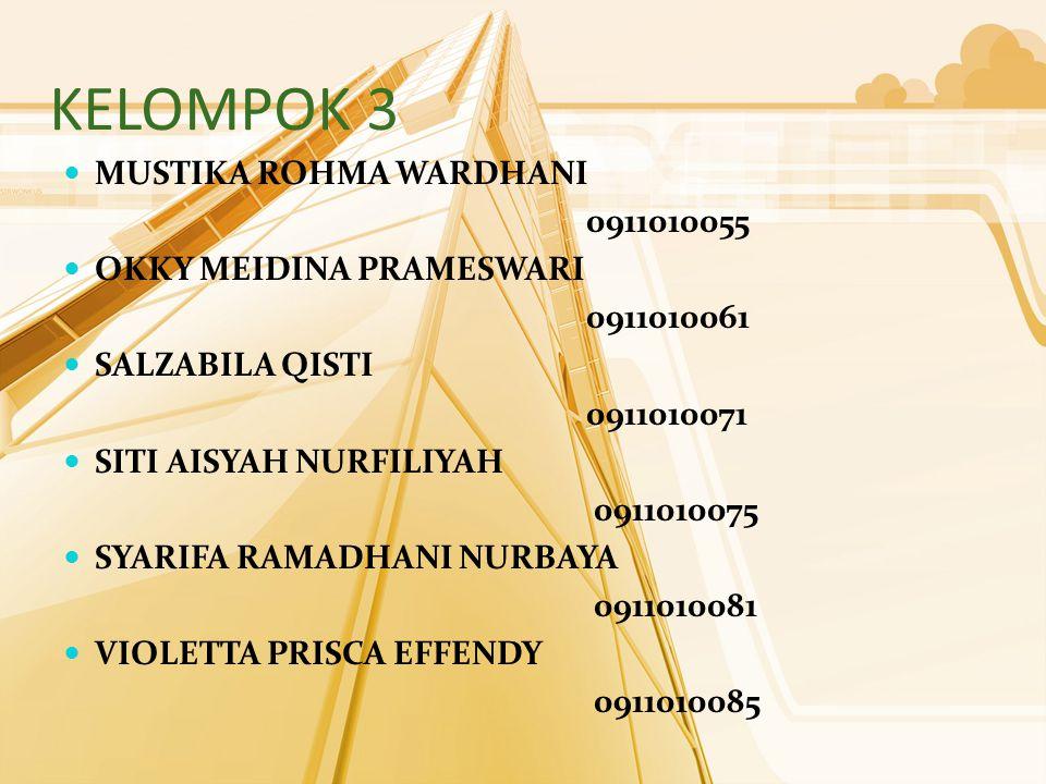KELOMPOK 3 MUSTIKA ROHMA WARDHANI 0911010055 OKKY MEIDINA PRAMESWARI