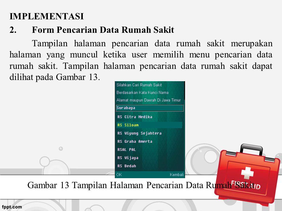 Gambar 13 Tampilan Halaman Pencarian Data Rumah Sakit