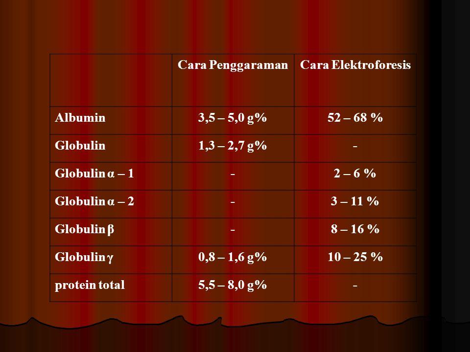 Cara Penggaraman Cara Elektroforesis. Albumin. 3,5 – 5,0 g% 52 – 68 % Globulin. 1,3 – 2,7 g% -