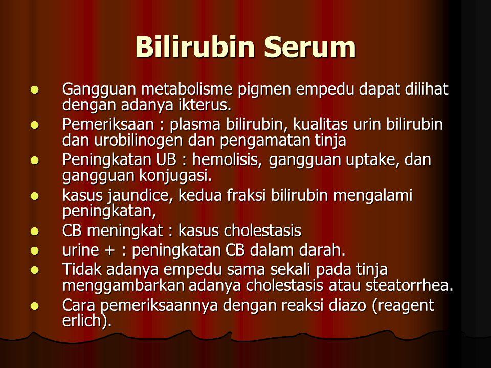 Bilirubin Serum Gangguan metabolisme pigmen empedu dapat dilihat dengan adanya ikterus.