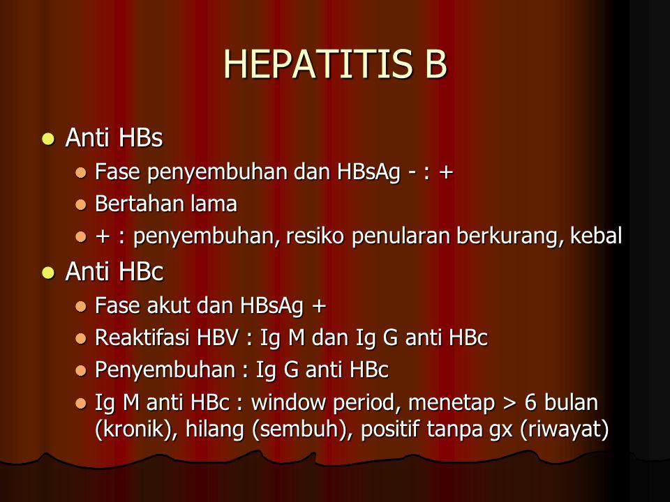HEPATITIS B Anti HBs Anti HBc Fase penyembuhan dan HBsAg - : +