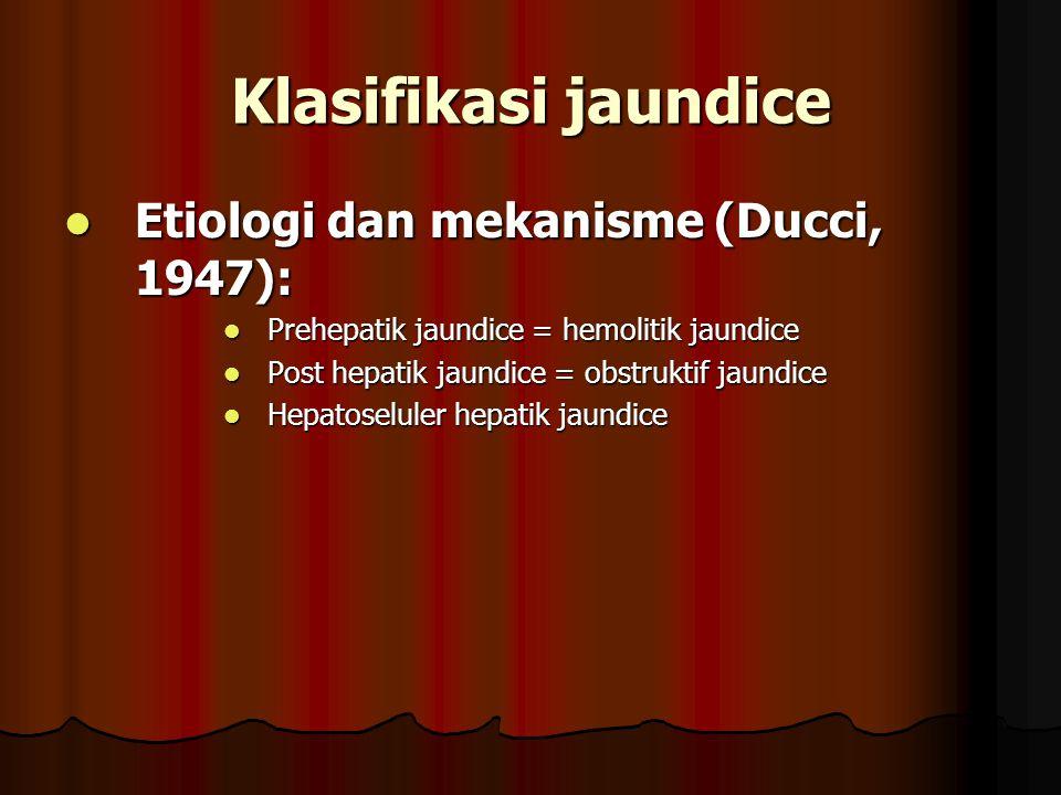 Klasifikasi jaundice Etiologi dan mekanisme (Ducci, 1947):