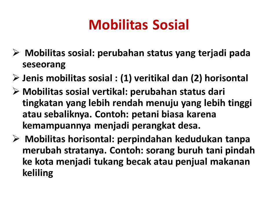 Mobilitas Sosial Mobilitas sosial: perubahan status yang terjadi pada seseorang. Jenis mobilitas sosial : (1) veritikal dan (2) horisontal.