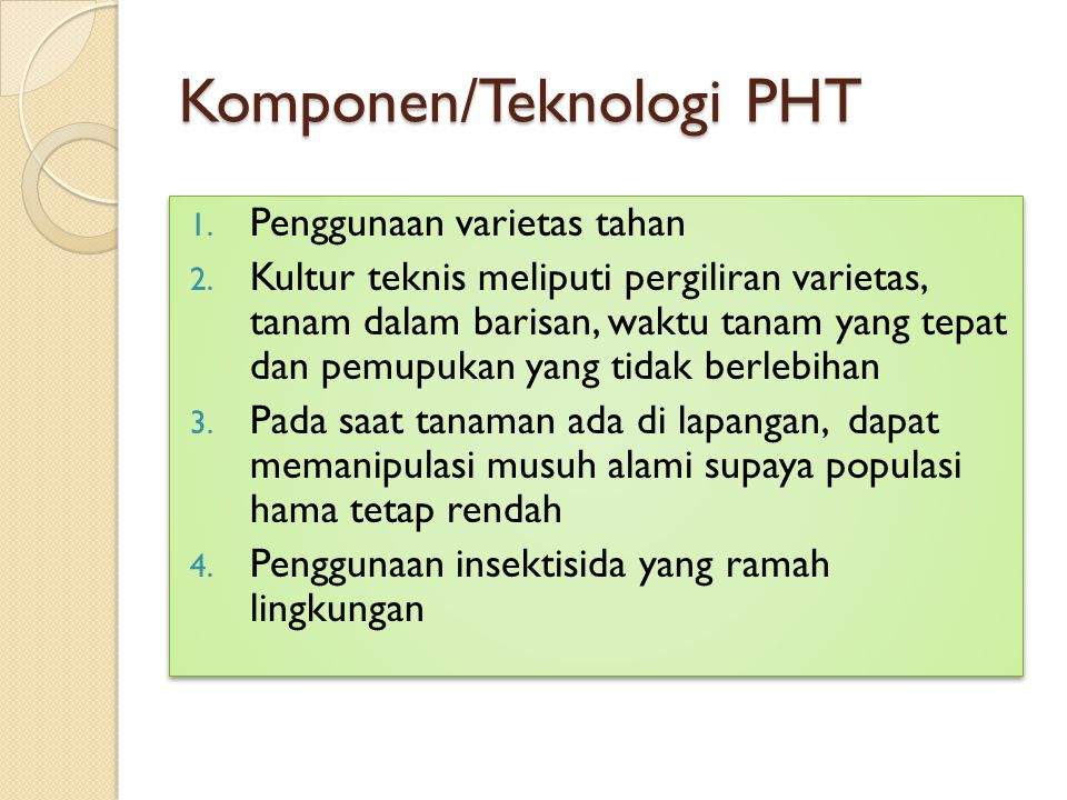 Komponen/Teknologi PHT
