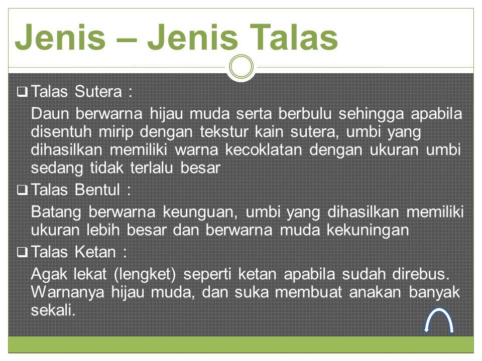 Jenis – Jenis Talas Talas Sutera :
